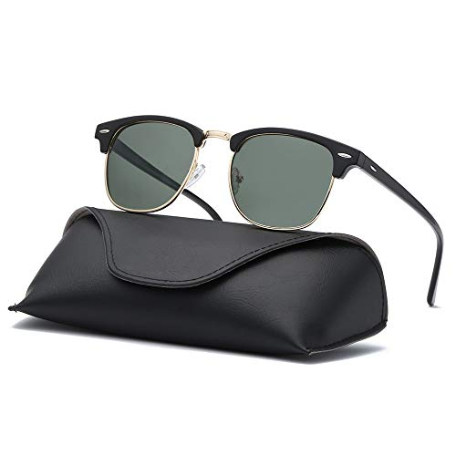 Ray Parker Classic Clubmaster Horn Rimmed Semi Rimless with Polarized Lenses for Men Sunglasses RP6623 with Black Frame/G15 ()