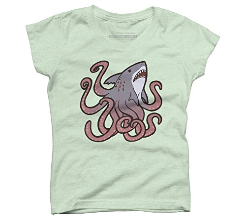 Design By Humans Sharktopus Girl's X-Small Mint Youth Graphic T Shirt for $<!--$20.00-->