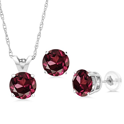 3.00 Ct Red Rhodolite Garnet 14K White Gold Pendant Earrings Set With Chain by Gem Stone King
