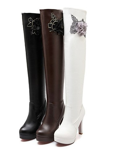 Uk6 Eu39 Semicuero De us5 Xzz Brown Blanco White Casual Mujer Uk3 Cn39 Eu35 Marrón Cn34 Punta us8 Redonda Botas Tacón Zapatos Negro Stiletto awwqfgZz5