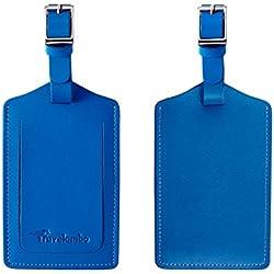 Travelambo Genuine Leather Luggage Bag Tags (blue 2 pcs set)