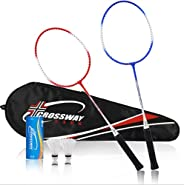 Player Badminton Racquets Set, Double Rackets Badminton Replacement Set with Pair of Two Rackets, Two Badminto