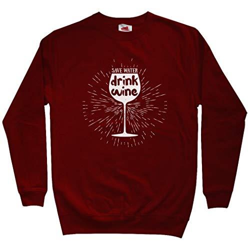 (Smash Transit Men's Save Water Drink Wine Sweatshirt - Maroon, XXX-Large)
