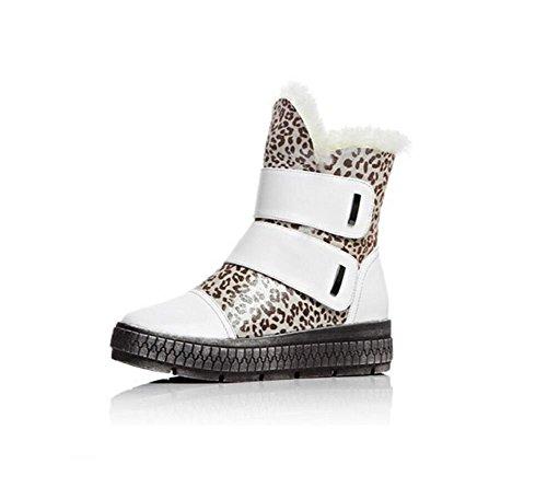 Piattaforma stabile femmina neve stivali Velcro in pelle e velluto corto tubo cotone Bootie-scarpe confortevole donna , white , 39