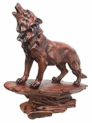 Faux Wood Wildlife Nature Night Moon Howling Wolf Figurine Timberwolves Collectible Statue