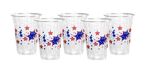 Party Essentials N620555 60 Count Soft Plastic 16 oz Printed Party Cups, Patriotic Stars, Clear