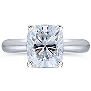 TransGems Platinum Plated Silver,2ct GH Colorless Cushion Moissanite Engagement Solitaire Rings for Women (5.5)