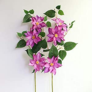 MUFEN Silk Clematis Stem Sprays Outdoor Artificial Flowers for Wreaths Corsages Home Wedding Table Room Decor 4