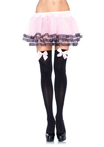 Leg Avenue Women's Opaque Thigh High Stockings with Satin Bow, Black/Light Pink, One Size ()