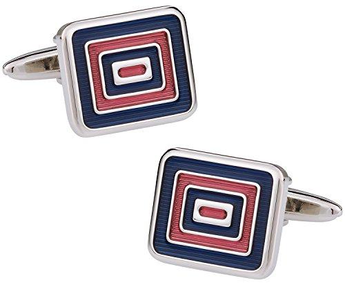 - Cuff-Daddy Bold Blue and Red Rectangular Bulls eye Silver Cufflinks