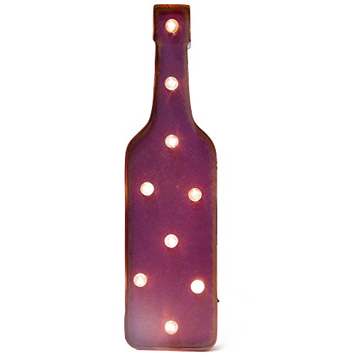 Glitzhome Vintage Marquee LED Lighted Wine Bottle Sign
