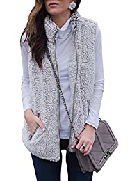 Women's Zip up Fleece Vest Coat Pockets
