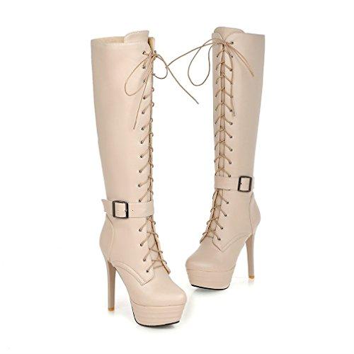 Tac Con Zapatos Cremallera Xianshu Rodilla Con Cordones Plataforma Botas Mujers de F8ZnnUHxv