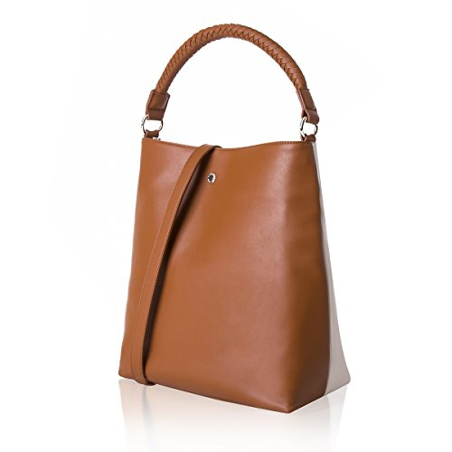 The Lovely Tote Co. Women's Color Block Convertible Crossbody Bag Medium Handle Bag Purse,Milk (Medium Square Tote)