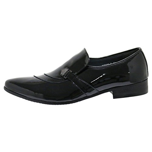 Robelli Designer Men's Faux Smooth Patent Leather Twirl Loafer Dress Shoes KlWs3BsavA