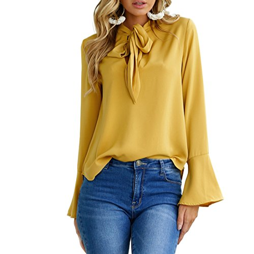 GecciNice Women's Blouses Loose Casual Bow Ties Neck Chiffon Shirts Long Sleeves Tops