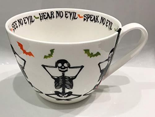 Port Portobello by Inspire Halloween Bone China Large Coffee Tea Mug Skeleton Hear No Evil Speak No Evil Home Decor
