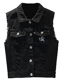 LifeShe Women Cotton Sleeveless Jeans Denim Vest Jacket Black White