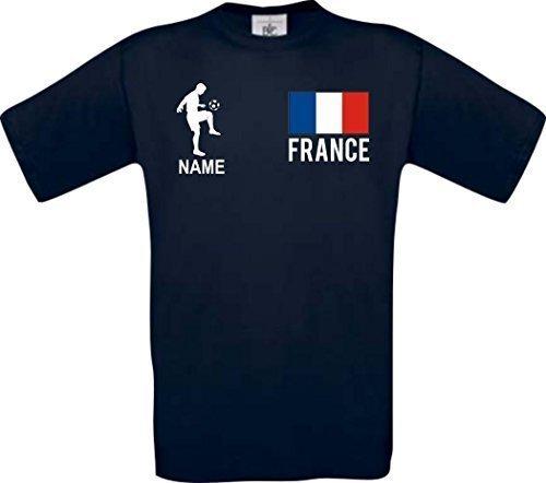 Shirtstown Camiseta De Hombres Camiseta de Fútbol Francia Francia con SU Nombre Deseado Impreso - Azul