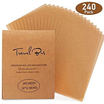 Parchment Paper Sheets 240 Count Precut Non-Stick Unbleached 12x16 Inches half sheet Parchment Paper for Baking Cooking Steaming Grilling Bread Cookie Grilling