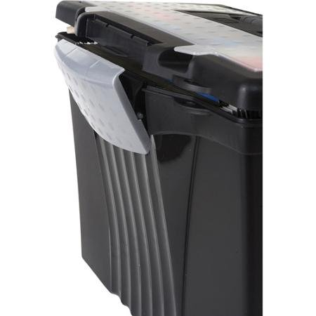 Storex Portable File Box with Organizer Lid, Legal/letter, Black 80% Post-consumer Content