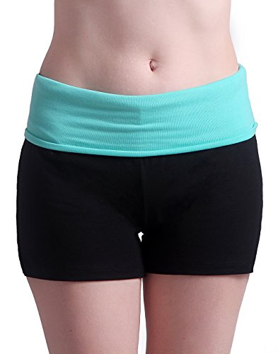Bermuda Lounge (HDE Women's Yoga Workout Shorts Exercise Mini Hot Shorts (Black and Teal, Medium) )
