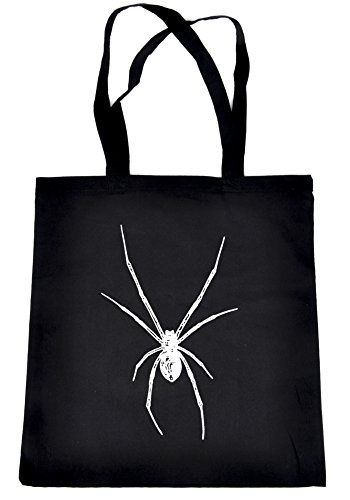 White Deadly Black Widow Spider Tote Bag Occult Alternative Clothing Book Bag Halloween Horror ()