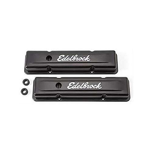 Ecklers Premier Quality Products 80-366734 Edelbrock Signature Series Black Powder Coated Valve Covers For Small Block Chevrolet Engines