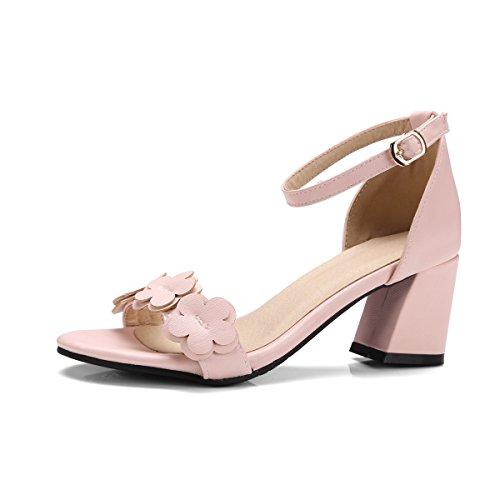 Tobillo Tacones QIN Al Mujer Toe amp;X Pink Peep Sandalias de Bloque OAzqRIAB