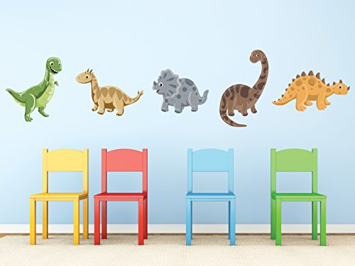 Dinosaur Fabric Wall Decals in Neutral Colors, Set of 5 Adorable Dinosaurs with T-Rex, Brontosaurus, Triceratops, and More, Non Toxic, Reusable and Repositionable