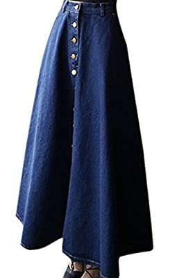 Zimaes Women's Denim Casual Stylish A-line Maxi Long Skirt