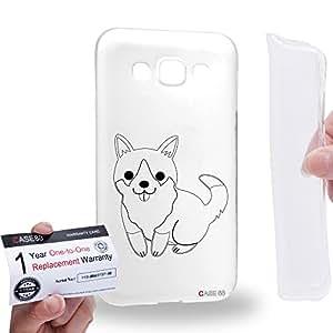 Case88 [Samsung Galaxy E5] Gel TPU Carcasa/Funda & Tarjeta de garantía - Art Hand Drawing Dog Corgi Chinese Year of Dog Art4009