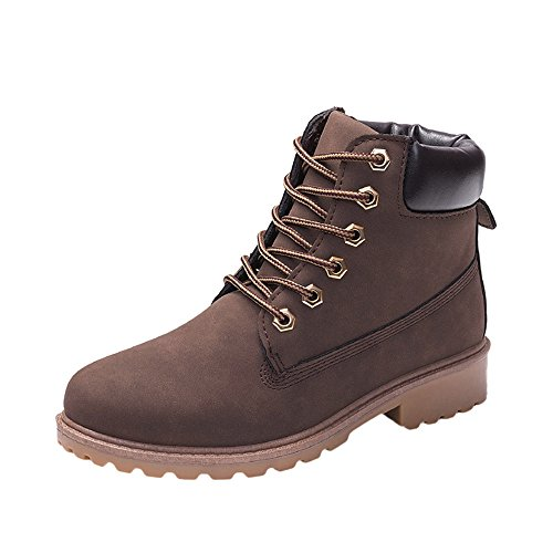 (COPPEN Women Boots Retro Solid Ankle Thick Lace-up Short Round Toe Casual Shoes (Brown, 8))