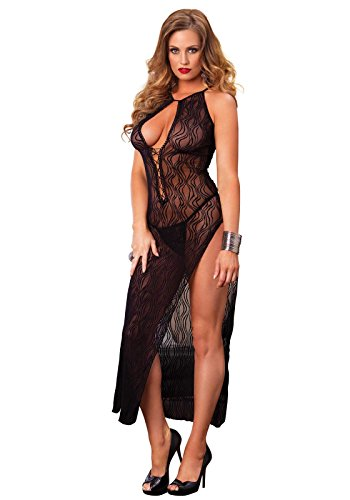 Leg Avenue High Slit Swirl Lace Long Gown and Panty