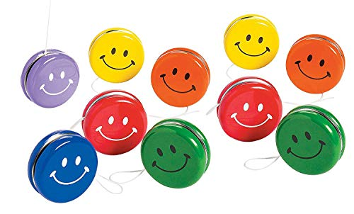 Kidsco Metal Smile Face Yo-Yos - Pack of 10 Assorted Colors Happy Face Yoyos - for Kids Great Party Favors, Bag Stuffers, Fun, Toy, Gift, Prize, Piñata Fillers