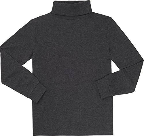 French Toast School Uniform Boys Long Sleeve Turtleneck T-Shirt, Charcoal Gray Heather, 5