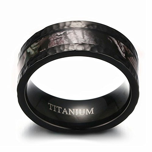 8mm Mens Black Camouflage Hunting Titanium Wedding Band Ring With