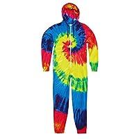 Colortone Unisex Adults Full Zip Rainbow Tie Dye Onesie