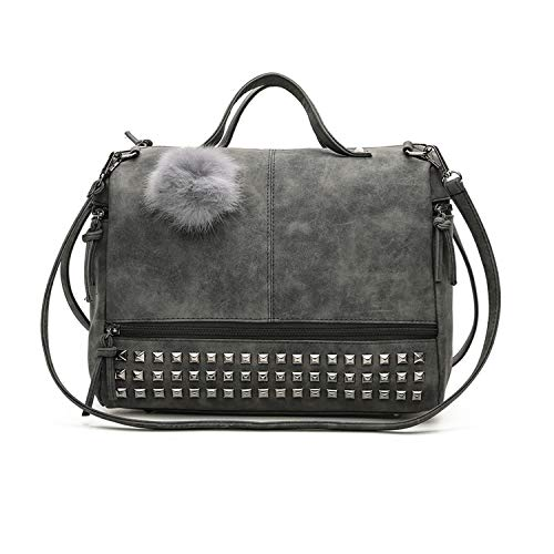 er Bag Vintage Nubuck Leather Rivet Top-Handle Bag ()