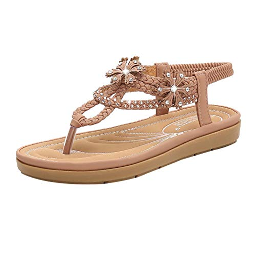 Aunimeifly Women's Soft Comfty Bottom Bohemian Sandals Rhinestone Flats Clip-Toe Weaving Elastic Band Shoes Pink ()
