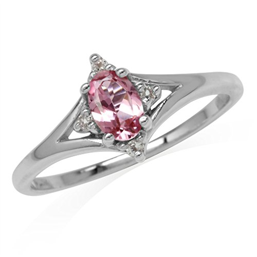 (Natural Pink Tourmaline & White Topaz 925 Sterling Silver Ring Size 8)