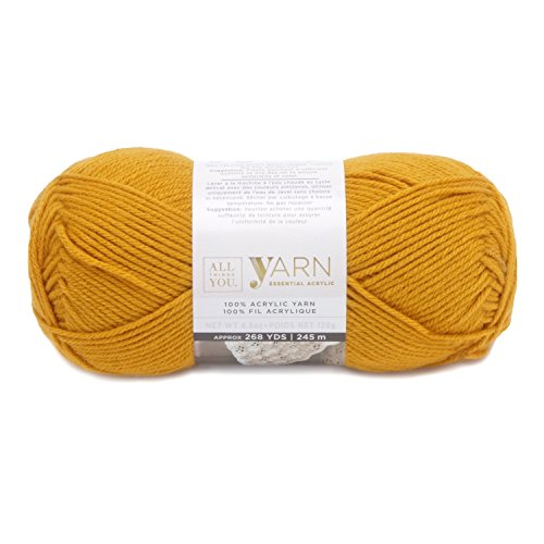 Darice All Things You, Essential Acylic Solid Color Yarn, Gold