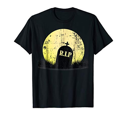 Vintage Halloween Gravestone Shirt Weathered Grave Full Moon -