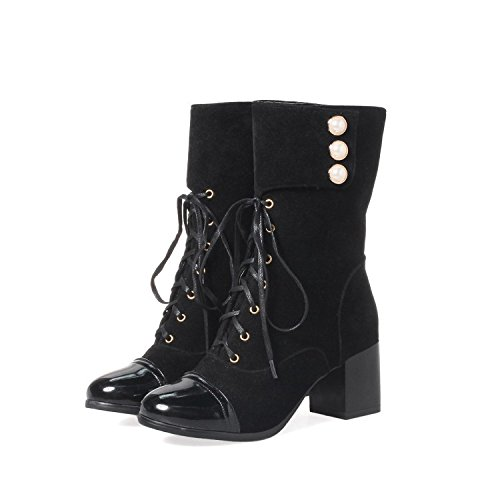 YFF Christmas Boots gifts Women Boots short Boots Christmas round Head Rough heel,black,46 Comfortable and unique B077L76M32 Shoes 36939f