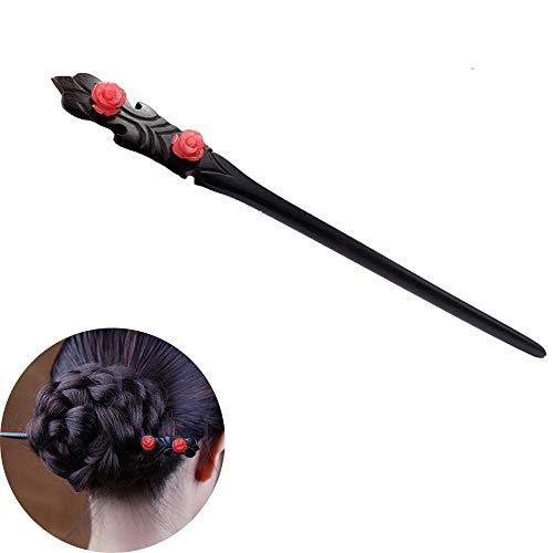 - TOP SEWING Rose Flower Handmade Ebony Hair Sticks for Women Chinese Classical Hairpins Wooden Hair Chopsticks for Buns (2M-B)