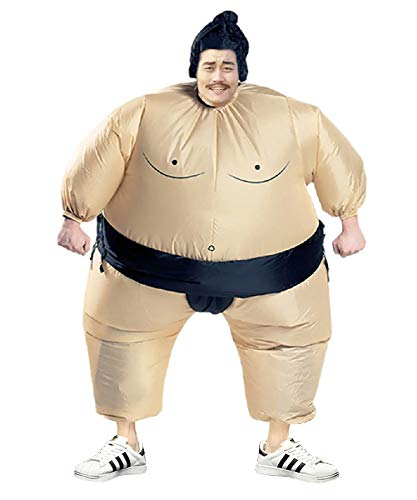 Inflatable Sumo Wrestling Fat Suit Blow Up Fancy Dress Funny Costume Halloween (Sumo for Adult)