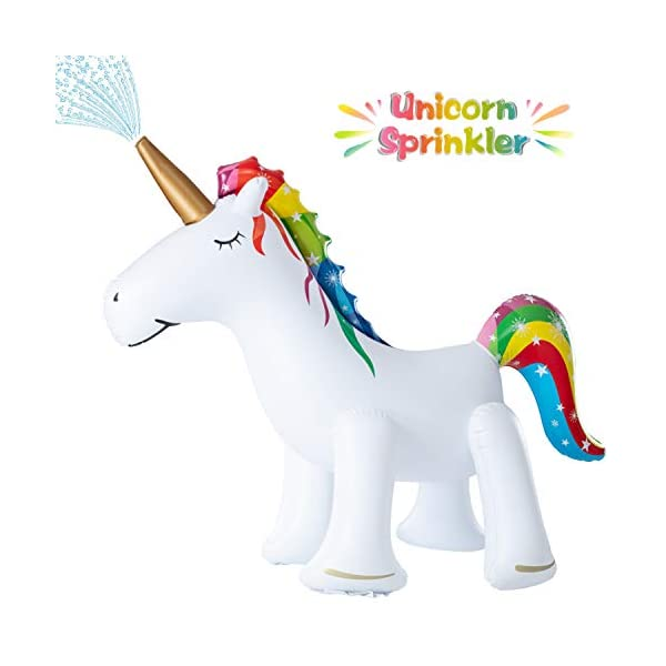 XGEAR Large Inflatable Unicorn Yard Sprinklers, Outdoor Sprinkle and Splash Play,Lawn Sprinkler, Summer Inflatable Water Spray Toy ,Fun Play Games for Kid Child Adult 3