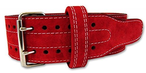 Power lifting Belt Suede Leather Double Prong Power Belt Bodybuilding belt - 4 Inches Wide, 10 MM thick - Weightlifting Belt Maximum Support & Protection- Optimal for Powerlifting 1 YEAR WARRANTY!!!!