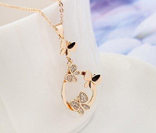 Ensemble collier papillons et boucles doreille 18 carats plaqu/é or jaune avec cristaux autrichiens blancs en zircone