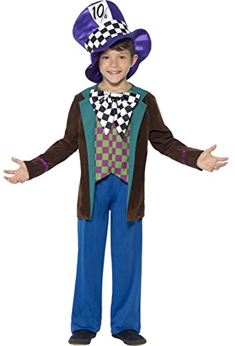 [Smiffy's Children's Deluxe Hatter Costume, Jacket, Trousers And Hat, Ages 7-9,] (Deluxe Mad Hatter Costume Uk)